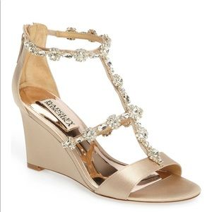 Badgley Mischka Satin Embellished Wedge Sandals 8
